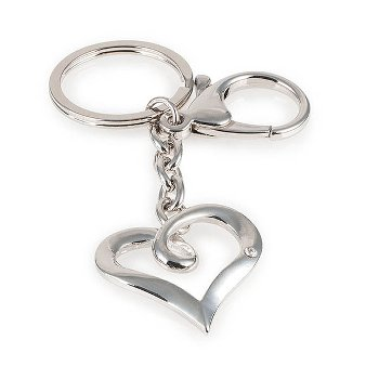 key ring, heart, zinc alloy L 10.5 cm