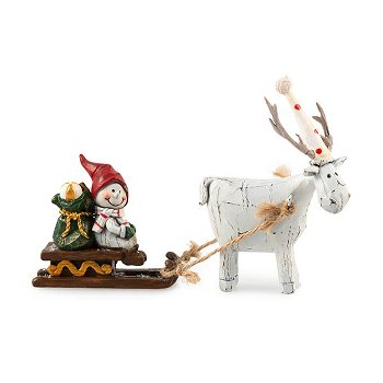 snowman with deer, polyresin,