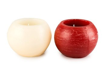 Candleholder, 2-assorted, red/creme,