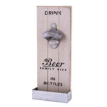 Bottle opener , L 12 x W 4,5 cm, grey