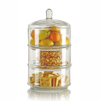 Jar, 3 boxes, glass, H 40 x ø 17 cm