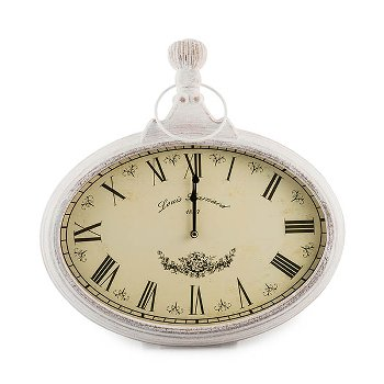 "Wall Clock ""Louis"" oval wood/glass,"