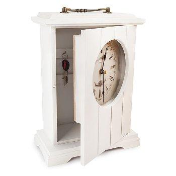 """Schlüsselschrank """"Uhr"""", Holz / Glas"""