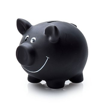 """Piggy bank """"black board"""", ceramic"""
