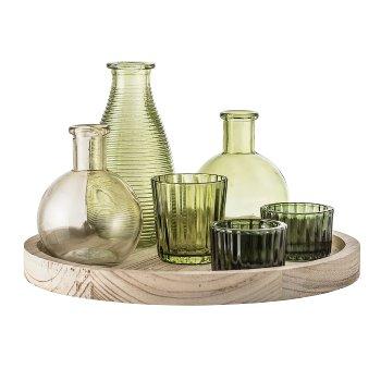 Holztablett mit Gefäßen und Vasen, 7-tei