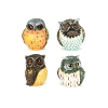 Owl, 4 assorted, poly,
